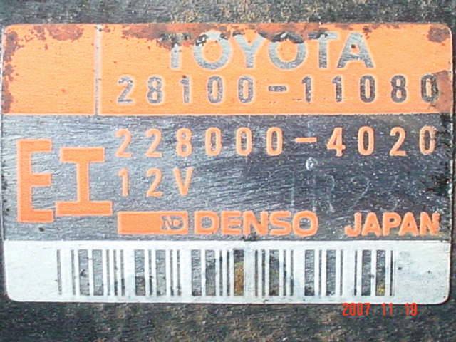 Стартер TOYOTA COROLLA EE111 4E-FE. Фото 2