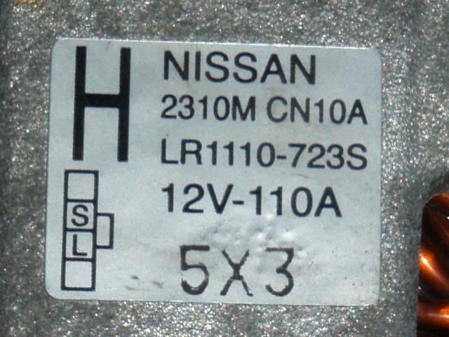 Генератор NISSAN TEANA J31 VQ23DE. Фото 6