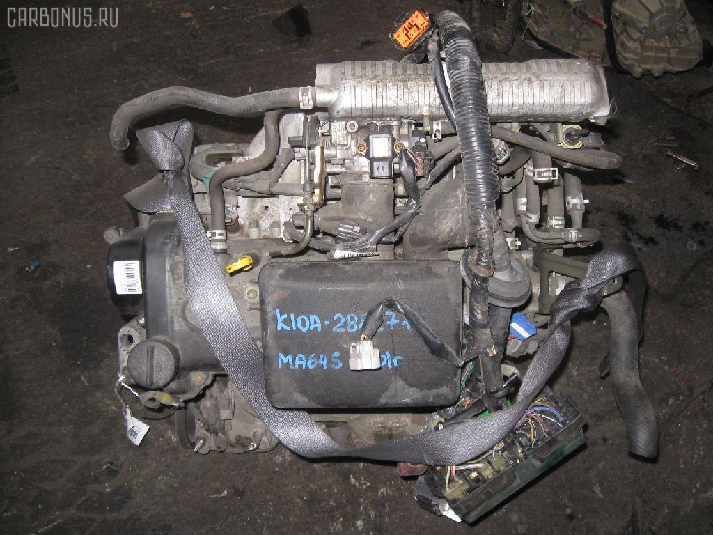Двигатель SUZUKI WAGON R SOLIO MA64S K10A. Фото 10